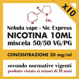 x10 Nicotina Nic Express Nebula 20mg/ml 50/50 10ml
