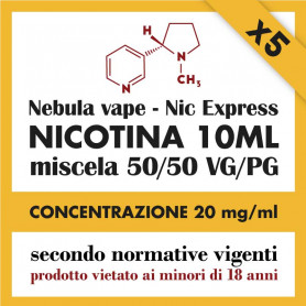 x5 Nicotina Nic Express Nebula 20mg/ml 50/50 10ml